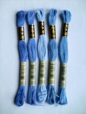 Lot de 5 échevettes Fil mouliné Art 117 DMC Bleu 3838.3839.3840.809.799