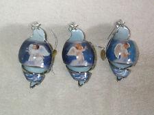 2001 Bradford Editions Starlight Blessings 3 Porcelain Christmas Angel Ornaments