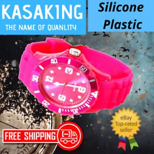 KASA Ladies Mens Children Unisex Ice Cool Hot Pink Colour Silicone Wrist Watch