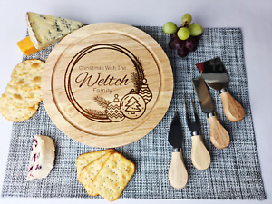 Personalised Engraved Chopping Cheese Board Gift Set Christmas Gift For Couples