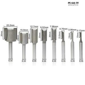 """8Pcs 1/4""""Shank Straight Slotted Router Bit For Woodworking Cutter Set 6.35mm"""