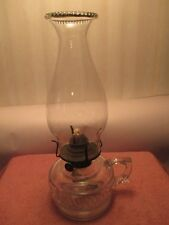 VINTAGE~~~FINGER OIL LAMP & CHIMNEY