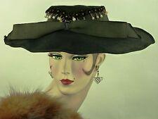 VINTAGE HAT ORIGINAL 1910s ENGLISH, BLACK FINE FELT WIDE BRIM DAY HAT w FLORALS