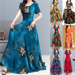 Women Ladies Floral Short Sleeve Maxi Long Dress Party Holiday Casual Sundress
