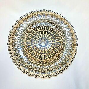 "BOHO Platter Clear Glass Black Painted Underside BOHO Mandala Pattern 13"""