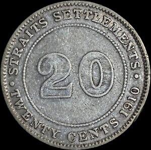 1910 Straits Settlements 20 Cents (Silver) - B Mintmark (Bombay)