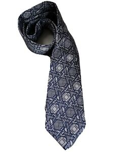 AUTHENTIC TURNBULL & ASSER GREY PATTERNED 9.5CM SILK TIE. RRP £125