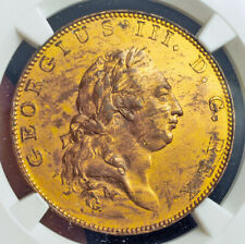 1788, Great Britain, George III. Proof Gilt Copper Pattern ½ Penny Coin. NGC AU+