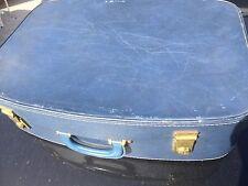 Vintage Blue suitcase Faux Leather Brass Locks Hard Handle Patterned Lining