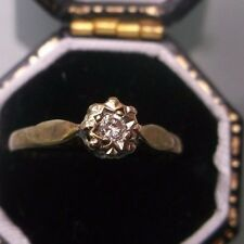 Women's 9ct Gold Vintage Diamond Solitaire Ring Size J Weight 1.3g Stamped