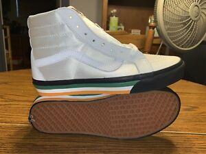 Vans Sk8-Hi Fight Night Skate Shoes Size 8.5 Black/White/Multi Satin Leather