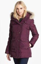 Pajar Serena Genuine Coyote Fur Trim Down Parka Burgundy Coat Jacket Size Medium