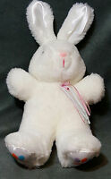 """Vintage Dan Dee Bunny Plush White Easter Rabbit 12"""" Sitting With Bow Ribbon"""