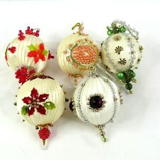 Lee Wards Completed Beaded Christmas Ornaments Vintage Lot of 5 Off White