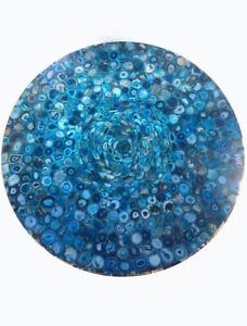 "60"" Blue Natural Agate Center Dining Table Top Pietradura Handmade Work Decor"