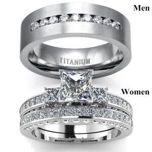 Wedding Ring Set Couple Rings Square CZ Engagement Bridal & Men's Wedding Band