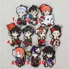 10pcs Gintama Summer Rubber Keychain Phone Strap Keyring Kagura Sakata Gintoki