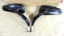 Mirrors Left Right Black Teardrop Billet Stem Convex Glass 34-1542  #2112