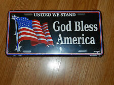 United We Stand ... God Bless America - Metal Novelty License Plate Sign