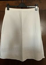 Ladies White TOPSHOP A-Line Skirt With Embroidered Holes Detail - Size 10