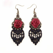 Vintage Gothic Rose Flower Drop Earring Black Lace Dangle Earrings Women Jewelry