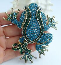 "Frog Brooch Pin Pendant 05853C5 Art Style 3.54"" Turquoise Rhinestone Crystal"