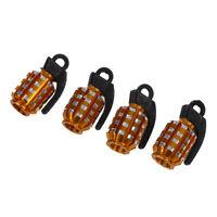 4 x Cubierta tapas de valvula del neumatico del coche formada granada de oro gua