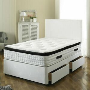 NEW LEATHER DIVAN BASE - UNDER BED STORAGE DRAWERS - ALL SIZES - BLACK CREAM.