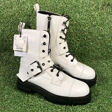 Botas al tobillo militares Zara Cuero Blanco Hebilla Detalle Para Mujer Size UK 4 EU 36