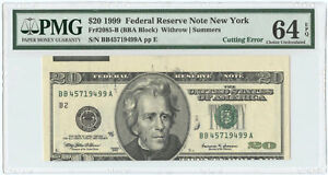 1999 $20 Federal Reserve Note New York, NY PMG Choice UNC 64 EPQ Cutting Error