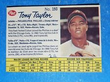 1962 POST BASEBALL CANADIAN 193 TONY TAYLOR NM INK  PHILLIES VINTAGE