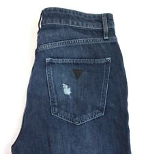NWT GUESS Women's Dark Wash Destructed Color Blocked 80's Fit Jeans 28 x 26