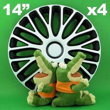 "Hubcaps 14"" Mugello 4xwheel Trim Cover Black White for CITROEN C2c3 DACIA Logan"