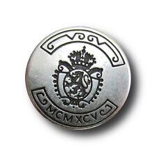 5 altsilberfb. Wappen Knöpfe mit Krone & Löwe für Blazer / Uniform (5373as)
