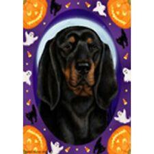 Halloween Garden Flag - Black and Tan Coonhound 124021