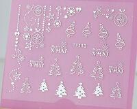 Christmas SILVER Xmas Tree Hanging Bauble Snowflake 3D Nail Art Sticker Decal UV