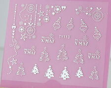 Christmas SILVER Xmas Tree Hanging Bauble Snowflake 3D Nail Art Sticker Decal UV