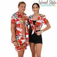 Red Surfing Santa Ladies Wrap Top & Mens Hawaiian Shirt + Shorts