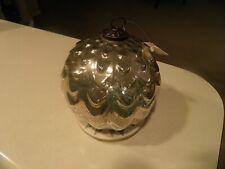 Pottery Barn Large Silver Mercury Glass Ornament Bronze Cap Christmas NEW