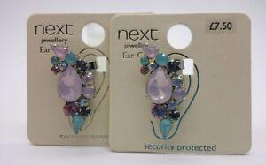 BN x2 Next Beautiful Blue,Pink Pastels Diamonte Ear Cuffs, Mermaid Theme