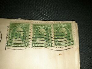 George Washington 1 Cent Stamp Green Looking Right x3 **Stamped 1932** Canceled