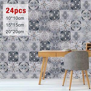 24pcs Moroccan Tile Effect Wallpaper Multicolor Paste The Wall Vinyl 10/15/20cm