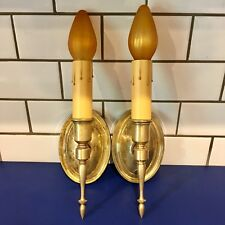 Early quality antique raw brass candle sconces Wired Pair 9B