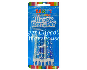 Blue Birthday Candles 12 candles and plaque set