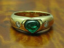 18kt 750 Yellow Gold Ring 0,26ct Brilliant & 1,60ct Emerald Decorations/Rg 56