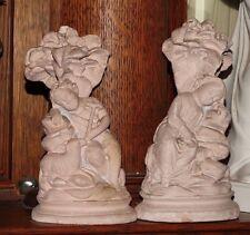 Pair Chalk Ware Child Figurines Religious Theme Lamb Thorn Crown Cross DA5161068