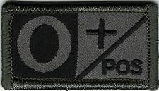 ACU Grey Gray Black Blood Type O+ Positive Patch VELCRO® BRAND Hook Fastener Com