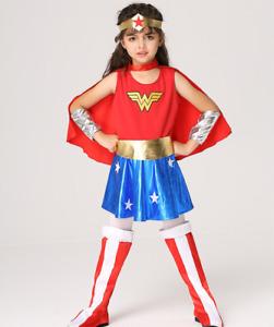 Child Wonder Woman Costume Girl Halloween Costume Kids Superhero Clothes S-XL