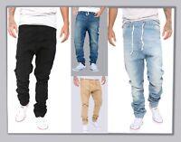 Mens Stretchy Cotton Slim Jogger Hip Hop Trousers Elastic Harem Cargo Twill Pant