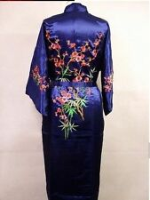 SIZE 14 CHINESE BLOSSOM WOMENS LADIES BLUE SATIN FULLY LINED ROBE/DRESSING GOWN